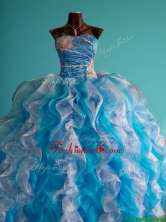 Discount Beaded and Ruffled Big Puffy Sweet 16 Dress in White and Blue SWQD078FOR