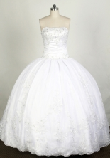 Elegant Ball Gown Strapless Floor-length White Quinceanera Dress Y042647