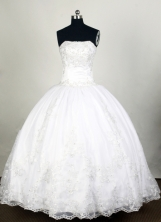Elegant Ball Gown Strapless Floor-length White Quinceanera Dress Y042667