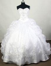 Elegant Ball Gown Sweetheart Floor-length White Quinceanera Dress Y042660