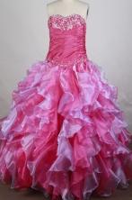 Elegant Ball Gown Sweetheart Neck Floor-length Hot Pink Quinceanera Dress Y042639