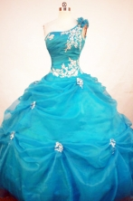 Exclusive Ball Gown One Shoulder Neck Floor-length Quinceanera Dresses Appliques  Style FA-Z-0229