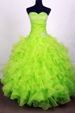 Exclusive Ball Gown Sweetheart Floor-length Lime Green Quinceanera Dress LHJ42711