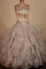 Exquisite ball gown strapless floor-length organza appliques gray quinceanera dresses FA-X-152