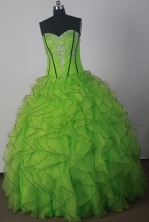 Fashionable A-line Strapless Floor-length Green Quinceanera Dress X042605