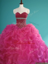 Gorgeous Beaded and Pick Ups Organza Sweet 16 Dress in Fuchsia SWQD080FOR
