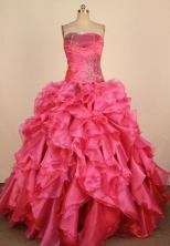 Lovely Ball Gown Strapless Floor-Length Red Appliques Quinceanera Dresses Style FA-S-221