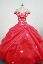 Luxurious Ball Gown Off The Shoulder Neck Floor Length Red Quinceanera Dresses Style FA-W-308