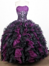 Luxurious Ball Gown Strapless Floor-length Purple Quinceanera Dress Y042626