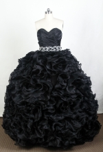 Luxurious Ball Gown Sweetheart Floor-length Black Quinceanera Dress Y042641