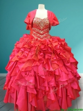 Luxurious Beaded Bodice and Ruffled Quinceanera Gown in Red SWQD084FOR