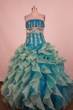 Luxury Ball Gown Strapless Floor-Length Blue Beading Quinceanera Dresses Style FA-S-220