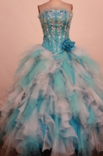 Luxury Ball Gown Strapless Floor-Length Blue Beading and Appliques Quinceanera Dresses Style FA-S-38