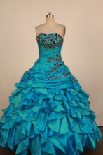 Luxury Ball Gown Strapless Floor-Length Light Quinceanera Dresses TD2464