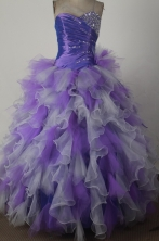 Luxury Ball Gown Strapless Floor-length Colorful Quinceanera Dress X0426020