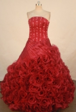 Luxury Ball Gown Strapless Floor-length Quinceanera Dresses Appliques Style FA-Z-0232