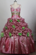 Luxury Ball Gown Strapless Floor-length Rust Red   Quinceanera Dress Y042652