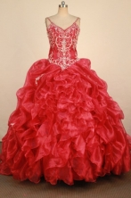 Luxury Ball Gown Straps Floor-Length Hot Red Beading and Appliques Quinceanera Dresses Style FA-S-26