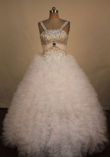 Luxury Ball Gown Straps Floor-Length White Beading Quinceanera Dresses Style FA-S-336
