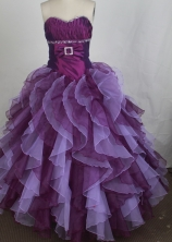 Luxury Ball Gown Sweetheart Floor-length Burgundy   Quinceanera Dress Y042654