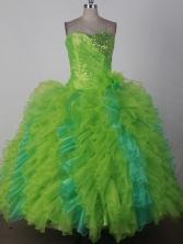 Luxury Ball Gown Sweetheart Floor-length Green Quincenera Dresses TD260040