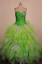 Luxury Ball Gown Sweetheart Neck Floor-Length Spring Green Beading Quinceanera Dresses Style FA-S-27