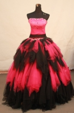 Luxury ball gown strapless floor-length net beading quinceanera dresses FA-X-150