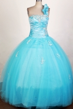 Popular Ball Gown One Shoulder Neck Floor-length Blue Quinceanera Dress Y042630