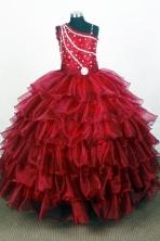 Popular Ball Gown One Shoulder Neck Floor-length Red Quinceanera Dress Y0426015