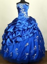 Popular Ball Gown Strapless Floor-length Blue Quinceanera Dress Y042636