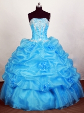 Popular Ball Gown Strapless Floor-length Blue Quinceanera Dress Y042659
