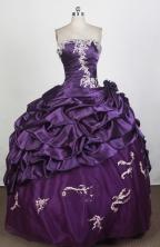 Popular Ball Gown Strapless Floor-length Eggplant Purple Quinceanera Dress LHJ42704
