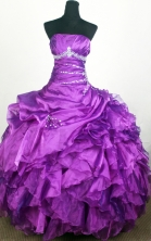 Popular Ball Gown Strapless Floor-length Eggplant Purple Quinceanera Dress Y0426012