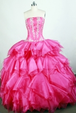 Popular Ball Gown Strapless Floor-length Hot Pink Quinceanera Dress Y042662
