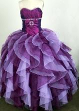 Popular Ball Gown Sweetheart Floor-length Burgundy Quinceanera Dress Y042654