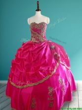 Popular Hot Pink Quinceanera Dress with Pick Ups and Appliques SWQD081FOR