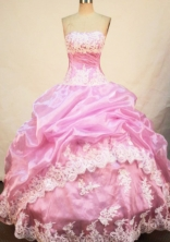 Pretty Ball Gown Strapless Floor-length Quinceanera Dresses Appliques Style FA-Z-0254