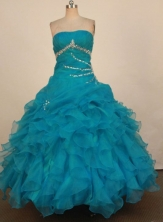 Romantic Ball Gown Strapless Floor-Length Light Blue Beading Quinceanera Dresses Style FA-S-353