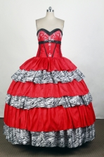 Romantic Ball Gown Sweetheart Floor-length Red Quinceanera Dress Y042631