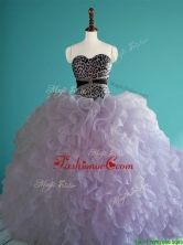 Romantic Leopard Big Puffy Quinceanera Dress with Beading and Ruffles SWQD079FOR