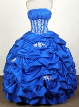 Simple Ball Gown Strapless Floor-length Blue Quinceanera Dress Y0426019