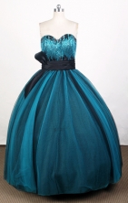 Simple Ball Gown Sweetheart Floor-length Blue Quinceanera Dress Y0426016