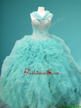 Visible Boning Beaded and Ruffled Sweet 16 Dress in Apple Green SWQD082FOR
