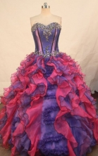 Wonderful ball gown sweetheart-neck floor-length organza appliques quinceanera dresses FA-X-157