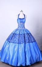Affordable Ball Gown Halter Top Neck FLoor-Length Baby Blue Appliques Quinceanera Dresses Style FA-S-113