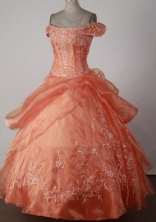 Affordable Ball Gown Off The Shoulder Floor-length Orange Quinceanera Dress X0426016
