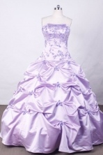 Affordable Ball Gown Strapless FLoor-Length Lilac Appliques And Beading Quinceanera Dresses Style FA-S-121