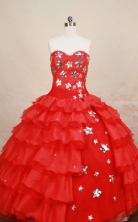 Affordable Ball Gown Strapless Floor-length Red Organza Quinceanera dress Style FA-L-067