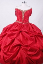 Affordable Ball Gown Strapless Floor-length Red Taffeta Beading Quinceanera dress Style FA-L-016