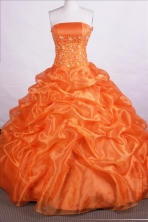 Beautiful Ball Gown Strapless Floor-length Orange Quinceanera Dresses Style FA-C-061